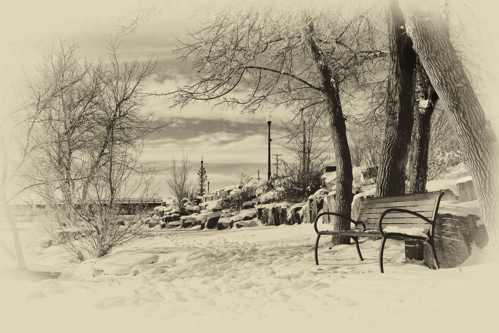 Days Gone By - Sepia Tone of Snake River in Idaho Falls - Fine Art Prints on Metal, Canvas, Paper & More By Kevin Odette Photography