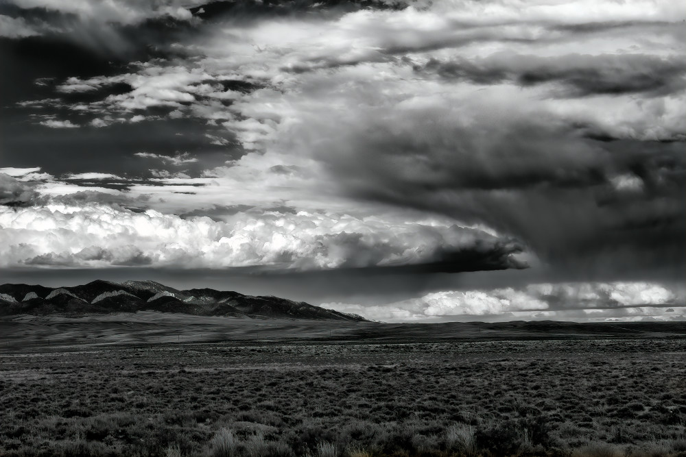 Summer, Rainstorm, Wyoming, B&W, black and white, horizontal