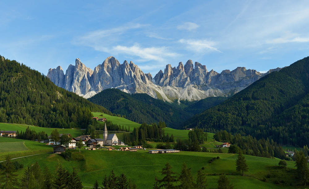 A Church With Mountains Panorama 1 Photography Art | RaberEYES