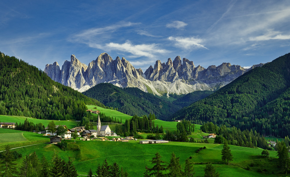 A Church With Mountains Panorama 1lum Photography Art   RaberEYES