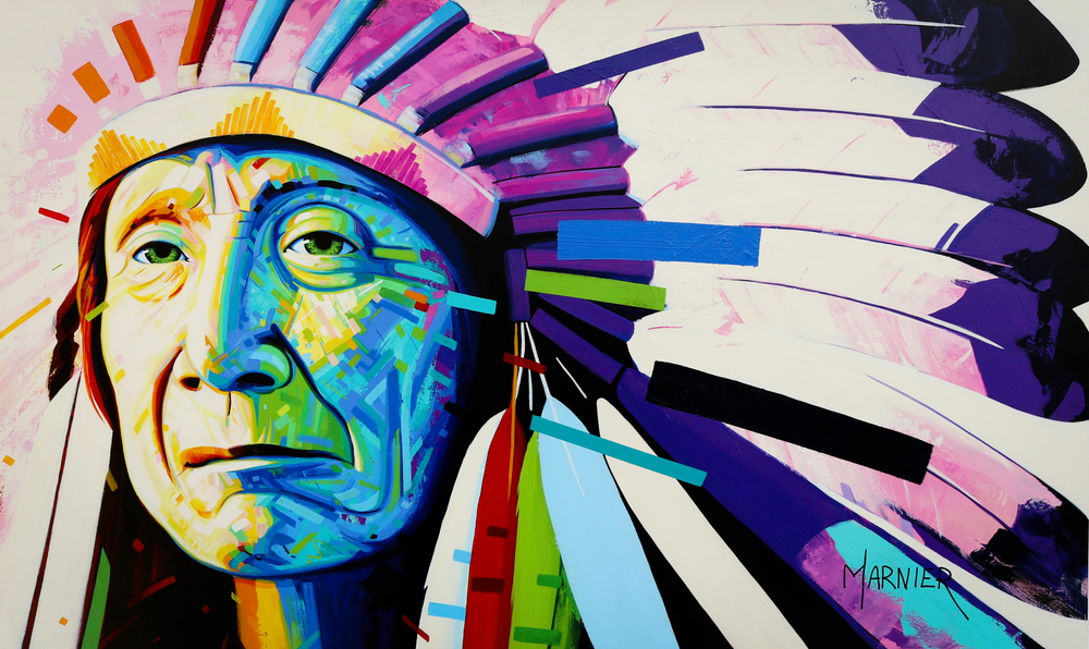 Art, Painting, Amerindian, Native American, Indian, native, tribal, chief,  community, nation, people, the head of a tribe or clan, chieftain, commander, indigenous, aboriginal people, first nations, autochthonous, Aboriginal, Amerind, North America