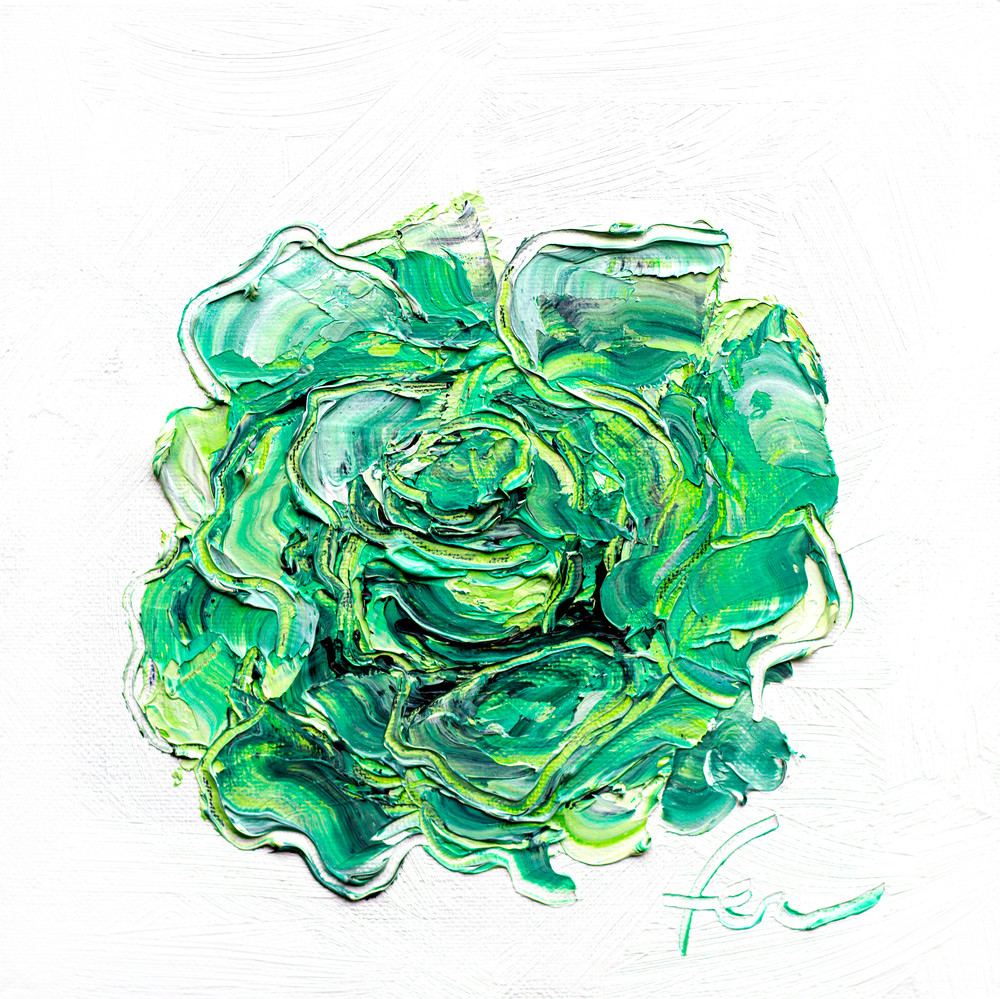 Green Rose Painting Giclee | Fer Caggiano Art