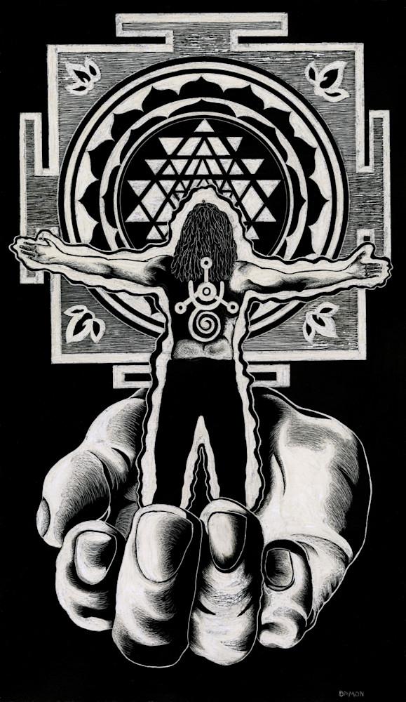 praying man, black and white, scratchboard