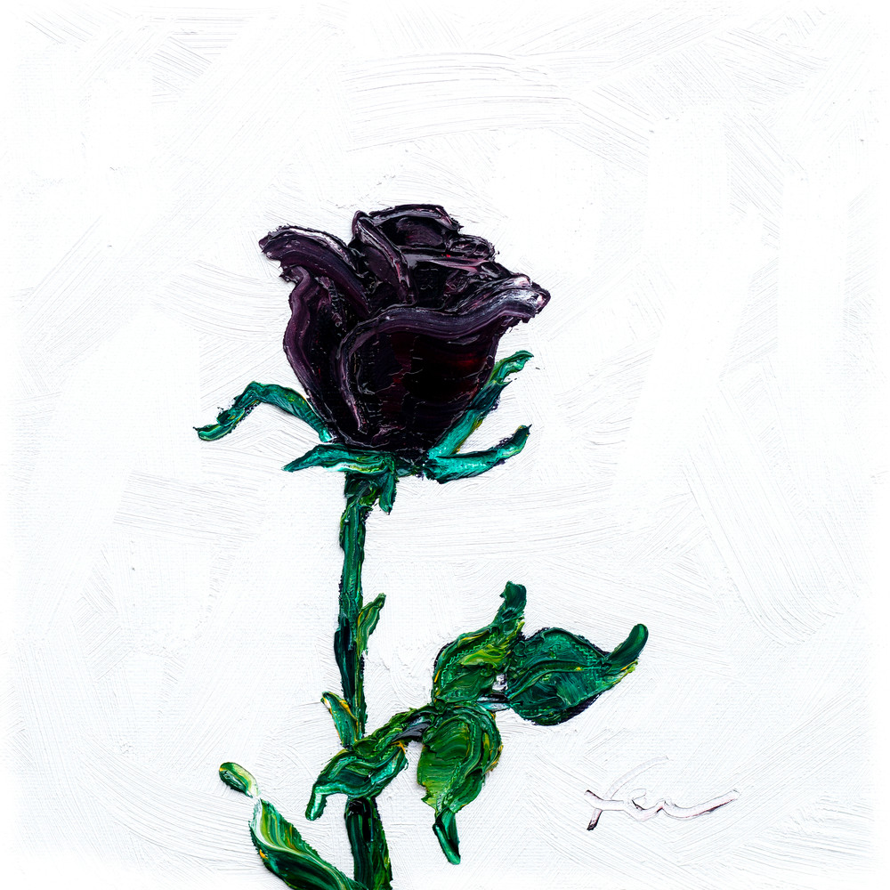 Black Rose Painting | Fer Caggiano Art