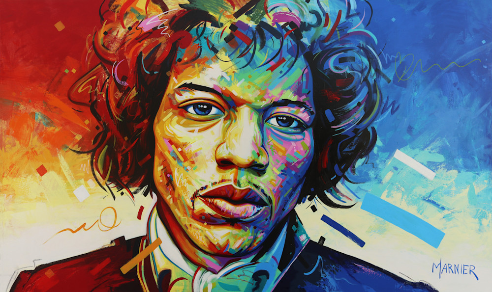"Painting, Marnier, acrylic, James Marshall ""Jimi"" Hendrix, prints"