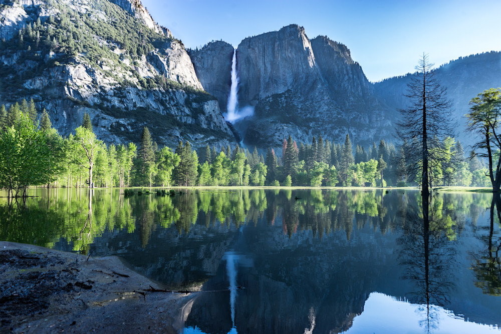 Yosemite Falls in Reflection - California Spring waterfall photograph print