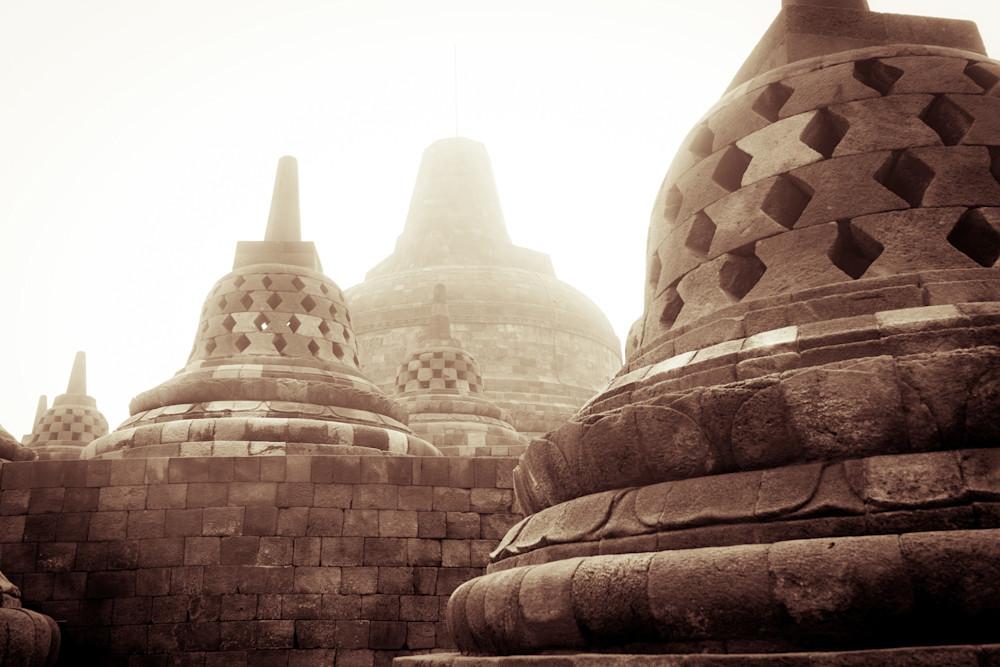 Buddha Bells - Volcanic Indonesia temple sunrise landscape photograph print