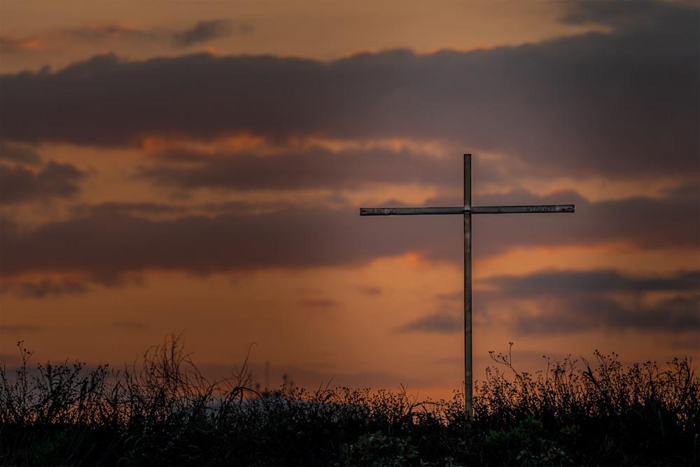 beach sunset with a cross