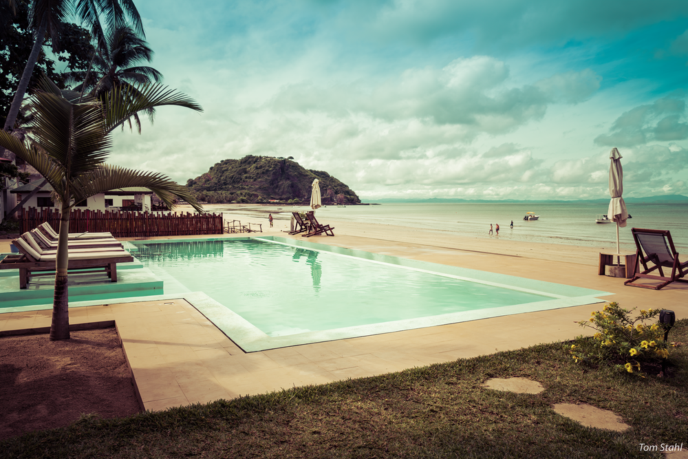 Palm Beach hotel pool, Nosy Be, Madagasar, 2019.