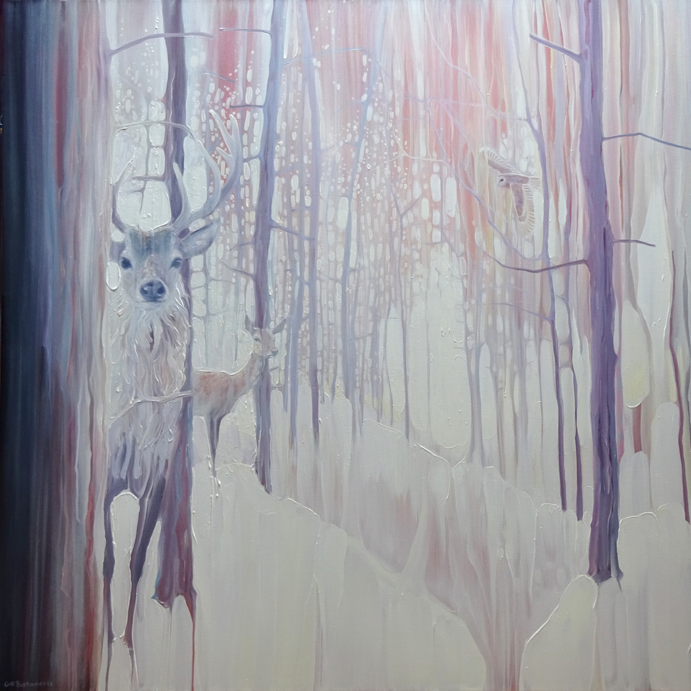 prints on canvas or paper of large snowy winter forest landscape with deer and owl