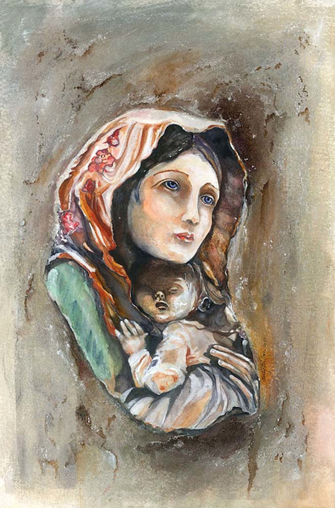 Madonna Of Malta, From an Original Watercolor Painting