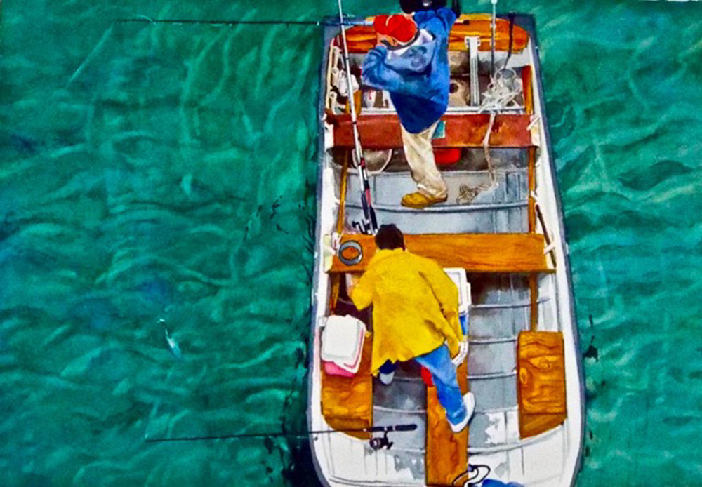 Indian River Fishing, From an Original Watercolor Painting
