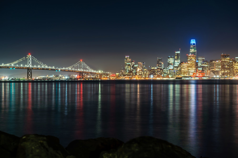Bay Bridge at Night - San Francisco Pictures of the City
