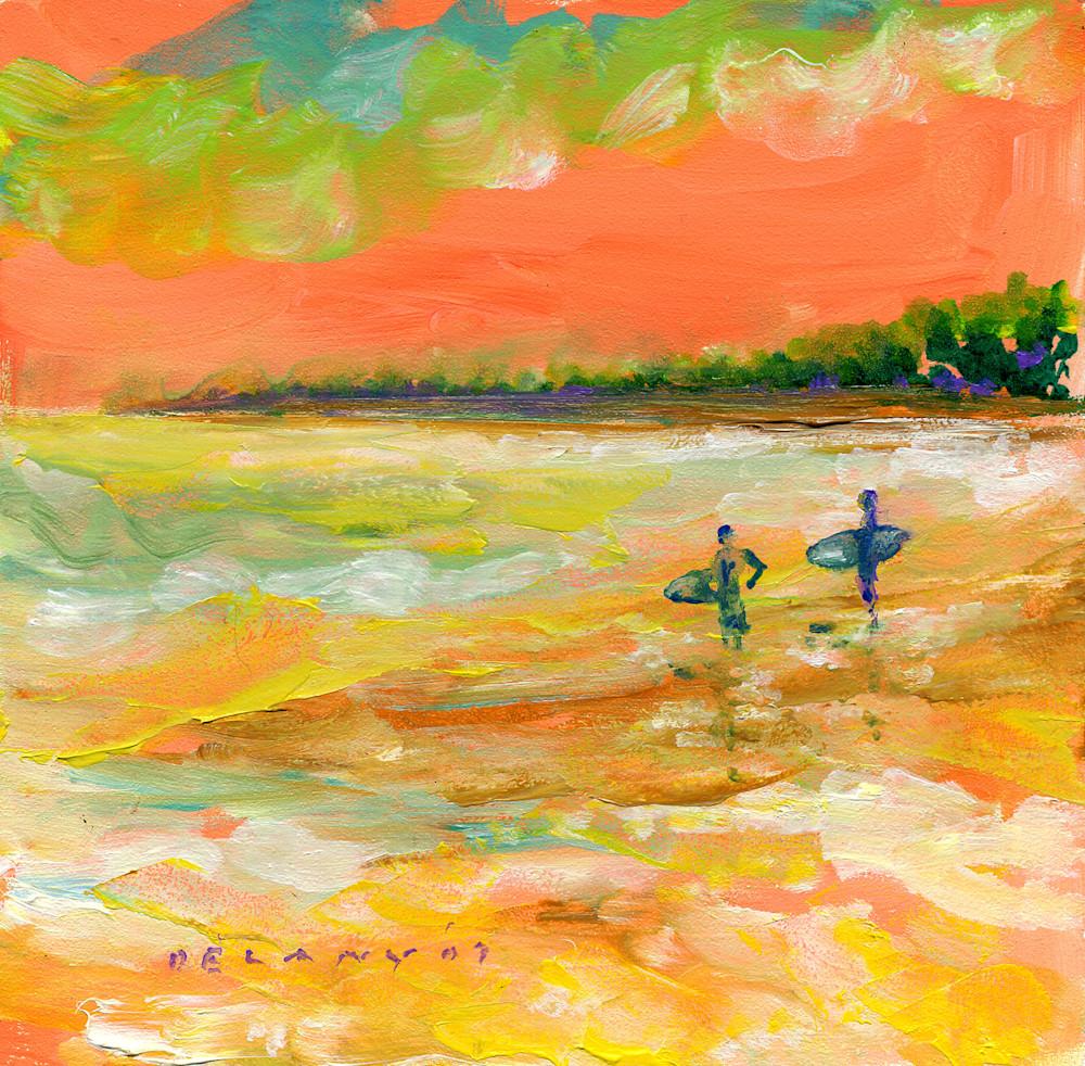 Two Surfers Near Naples Print