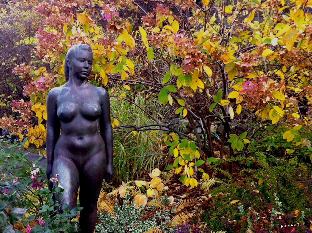 Statue in Woods Photo Print