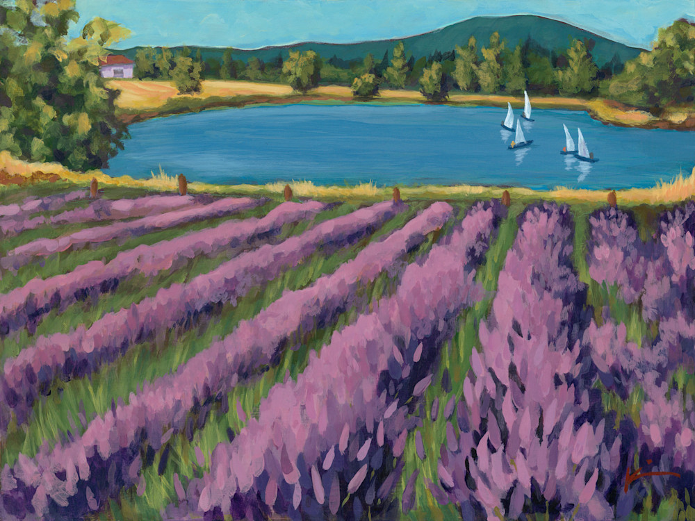 Kim Bruder - Lavender Field with Sailboats