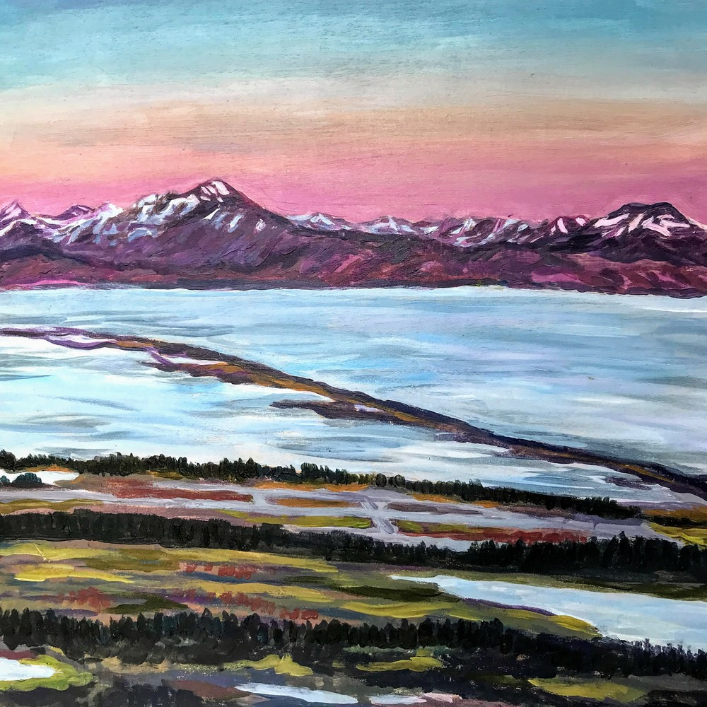 Dusky Autumn Sunset in Homer Alaska landscape art print