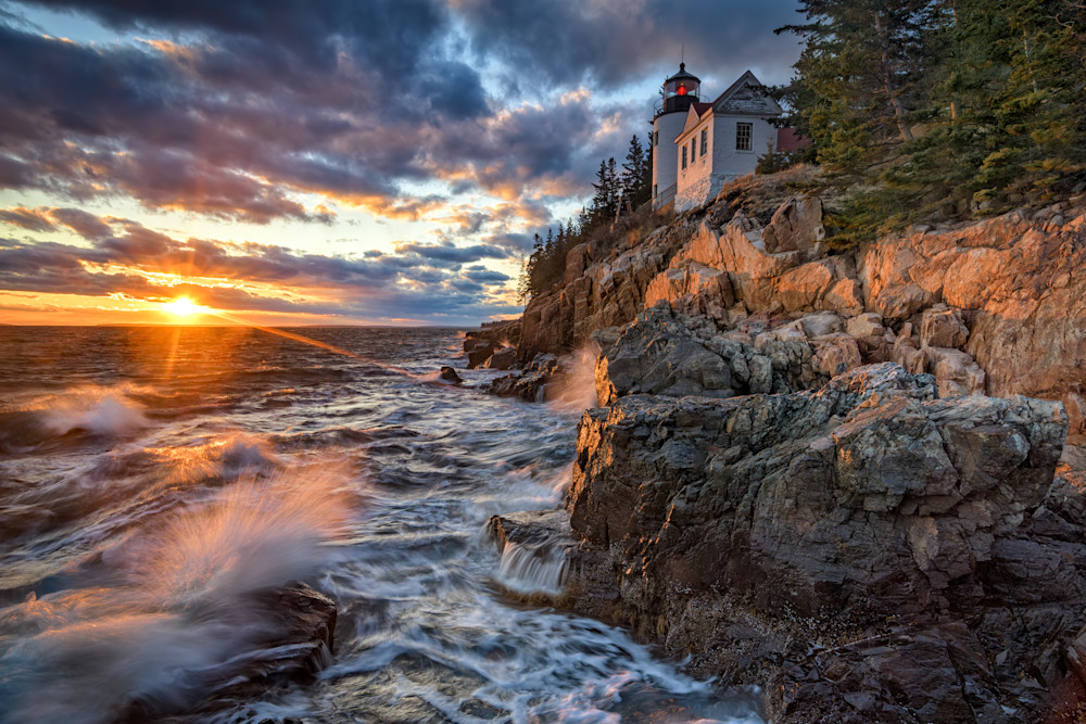 March Sunset at Bass Harbor Head Light | Shop Photography by Rick Berk