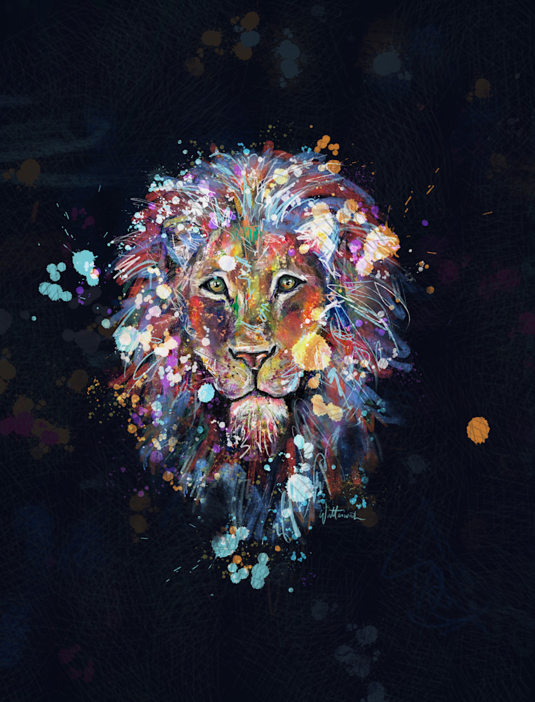 Lion Black Art | Kristyn Watterworth