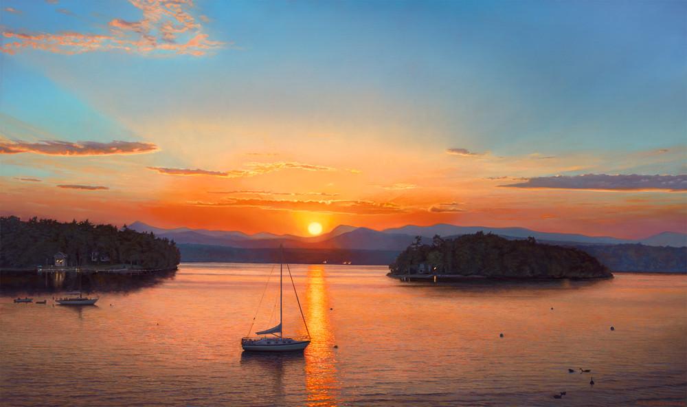 Lake Champlain Sunset Art   The Huntington Studio