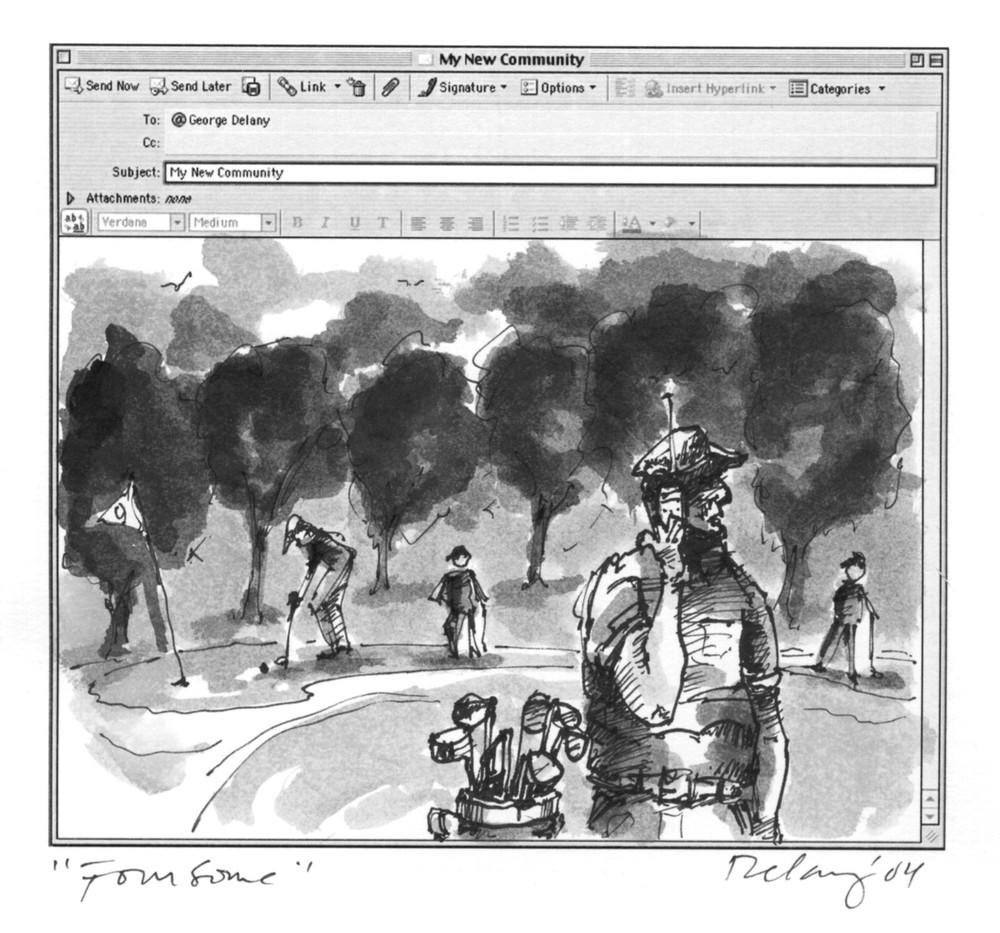 Golf Foursome Print  Art | DBA George Delany Art