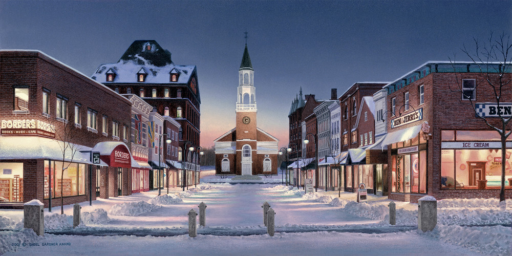 Church Street At Winter Twilight  Art | The Huntington Studio