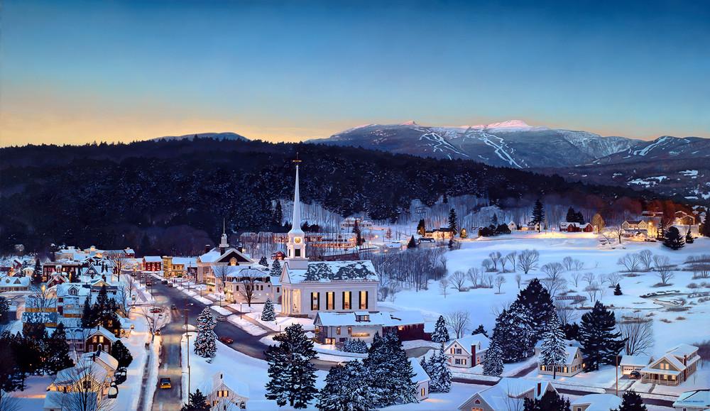 Stowe With Last Light On Mt. Mansfield  Art | The Huntington Studio