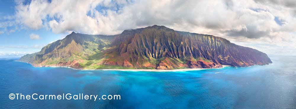 aerial view, blue waters, rugged Napali coast, Kauai north shore