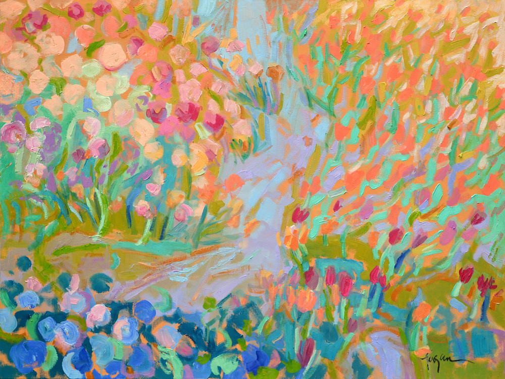 Joyful Garden Tulips Painting, Art Print by Dorothy Fagan