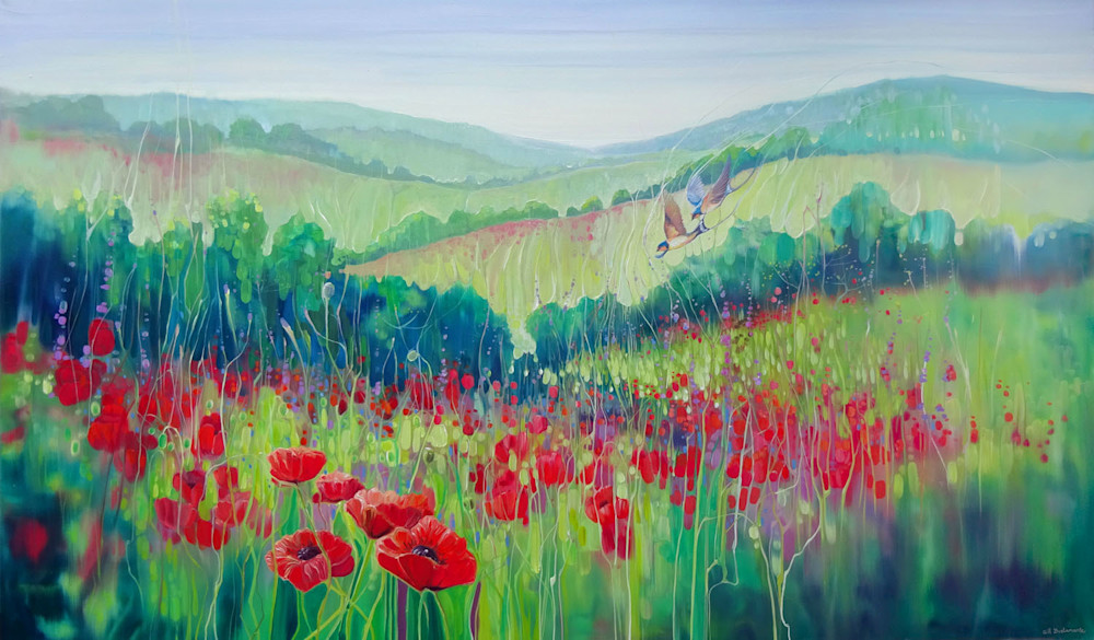 A print of red poppies and the green hills and meadows of the south downs in Sussex, England in semi abstract style on paper or canvas by Gill Bustamante