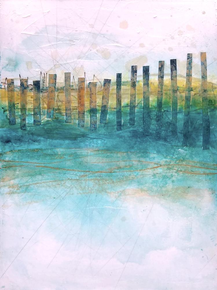 Sand Fences, Spring 1 - Original Abstract Painting & Print | Cynthia Coldren Fine Art