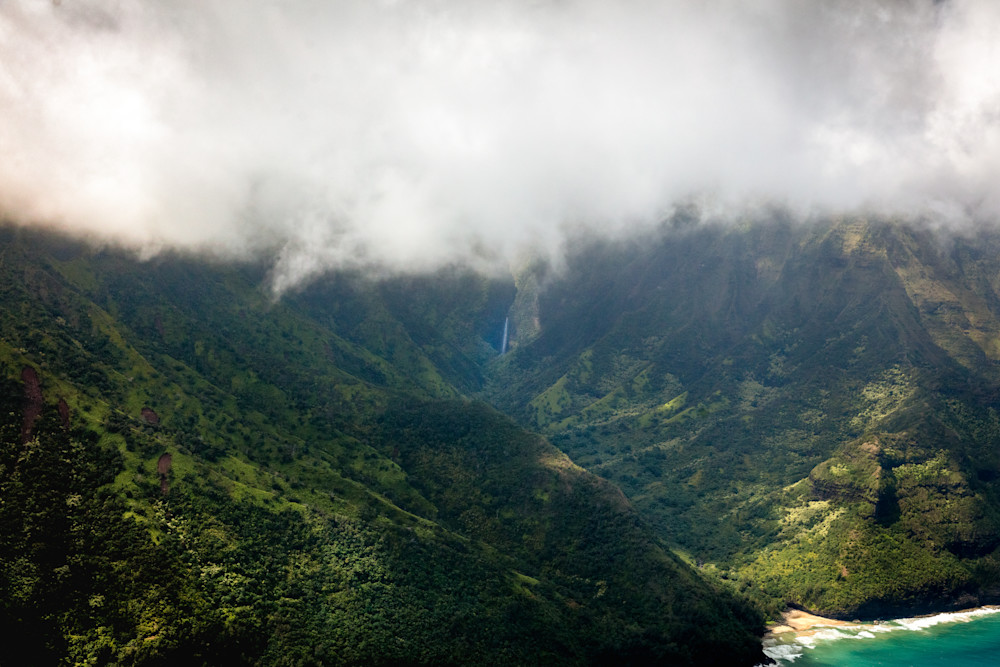 kauai, rain forest, beach, clouds