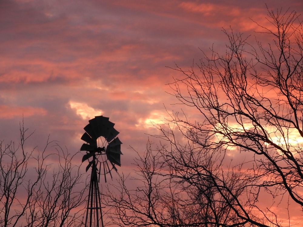 Red Sky Windmill  Photography Art   Galeria Mañana