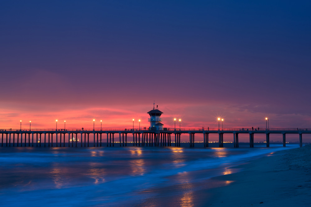 photo of the huntington beach pier at sunset without any people on the beach