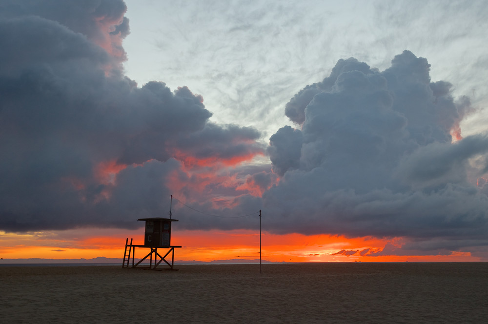 Newport Beach Lifeguard Stand at Sunset.