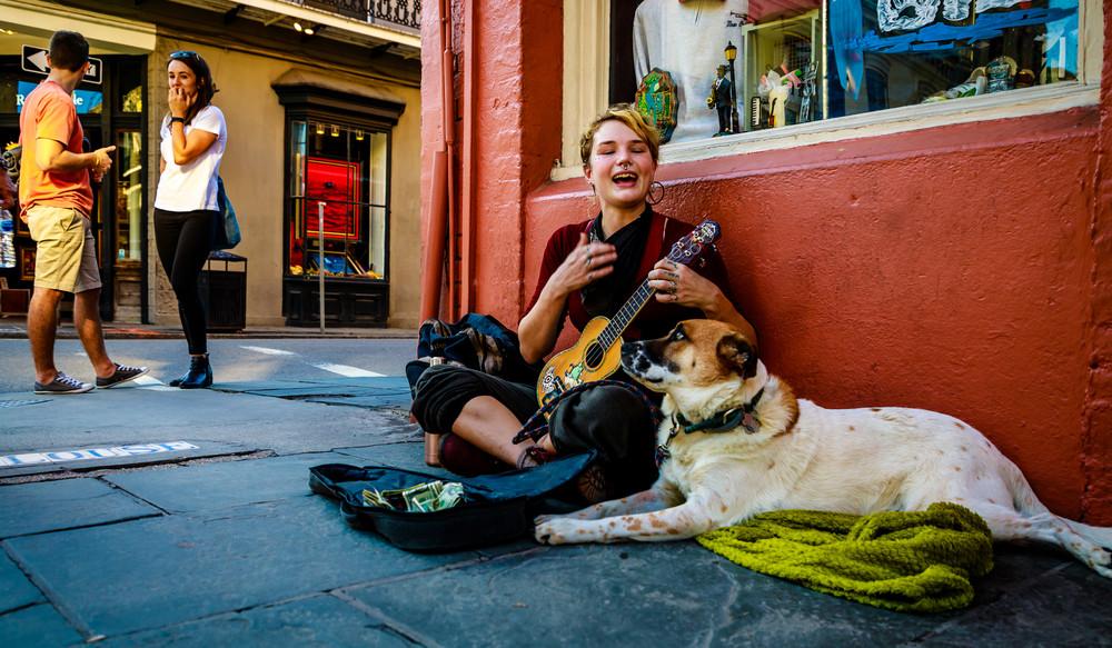 Sidewalk Performer And Dog New Orleans 2017 Photography Art | Dan Katz, Inc.