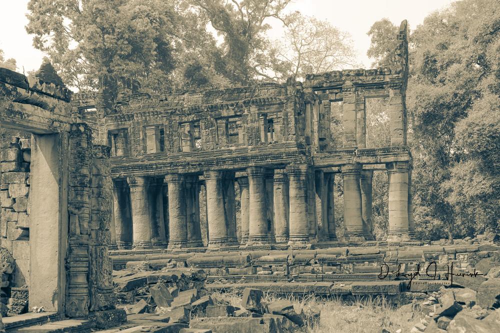 temple, columns, Cambodia, ruins,