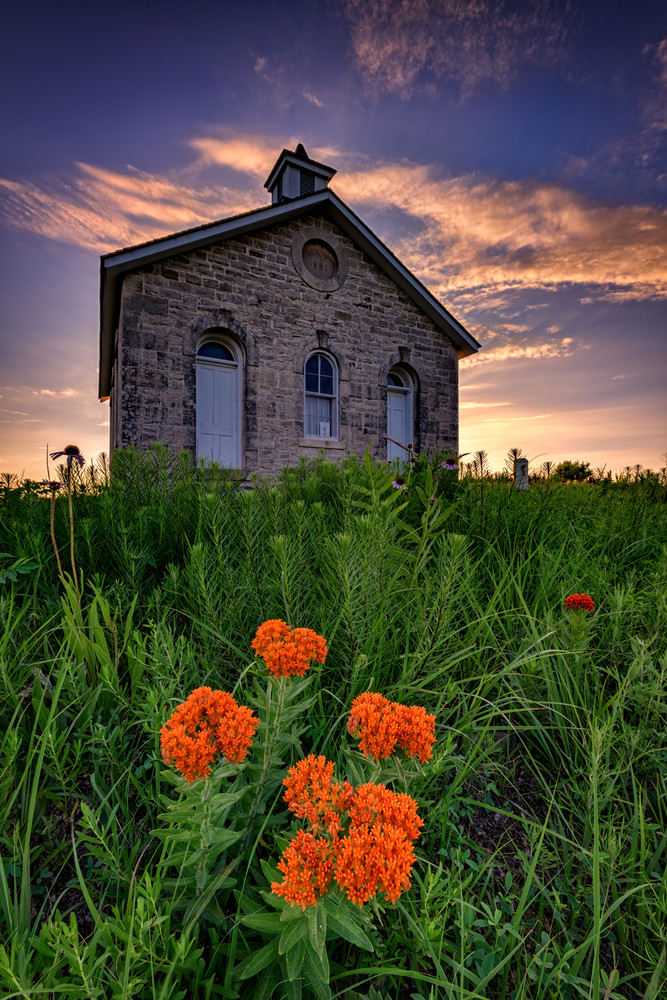 Sunset at Lower Fox Creek Schoolhouse | Shop Photography by Rick Berk