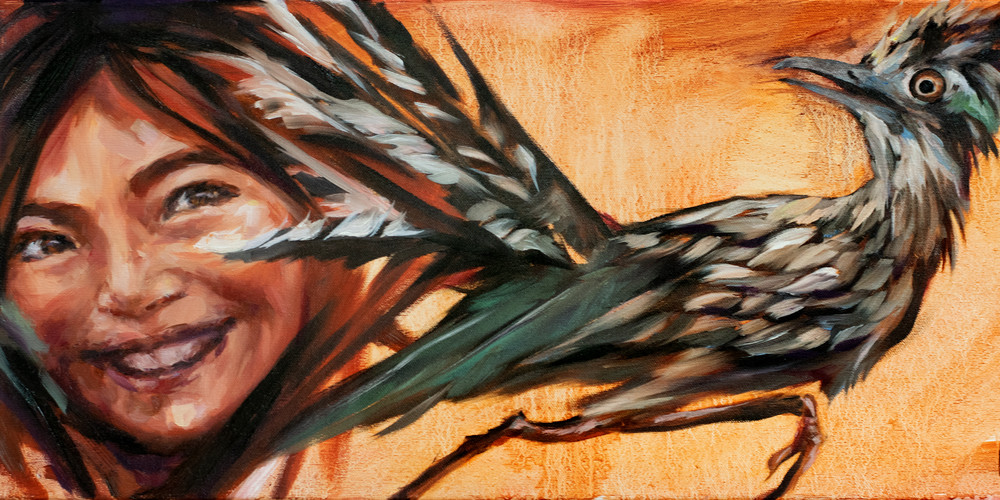 Purchase prints of the colorful and joyous oil painting Little Bird: Roadrunner by Ans Taylor