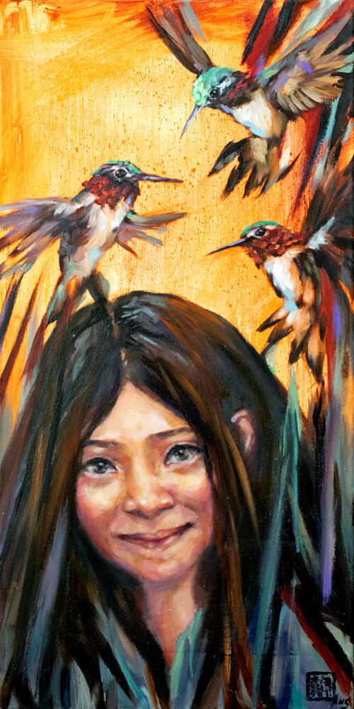 Purchase prints of the colorful and joyous oil painting Little Bird: Little Sister by Ans Taylor