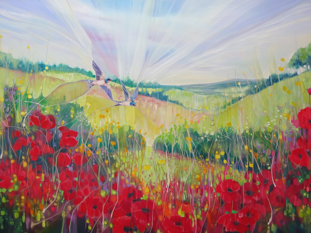 prints on canvas or paper of a South Downs landscape with poppies and swallows