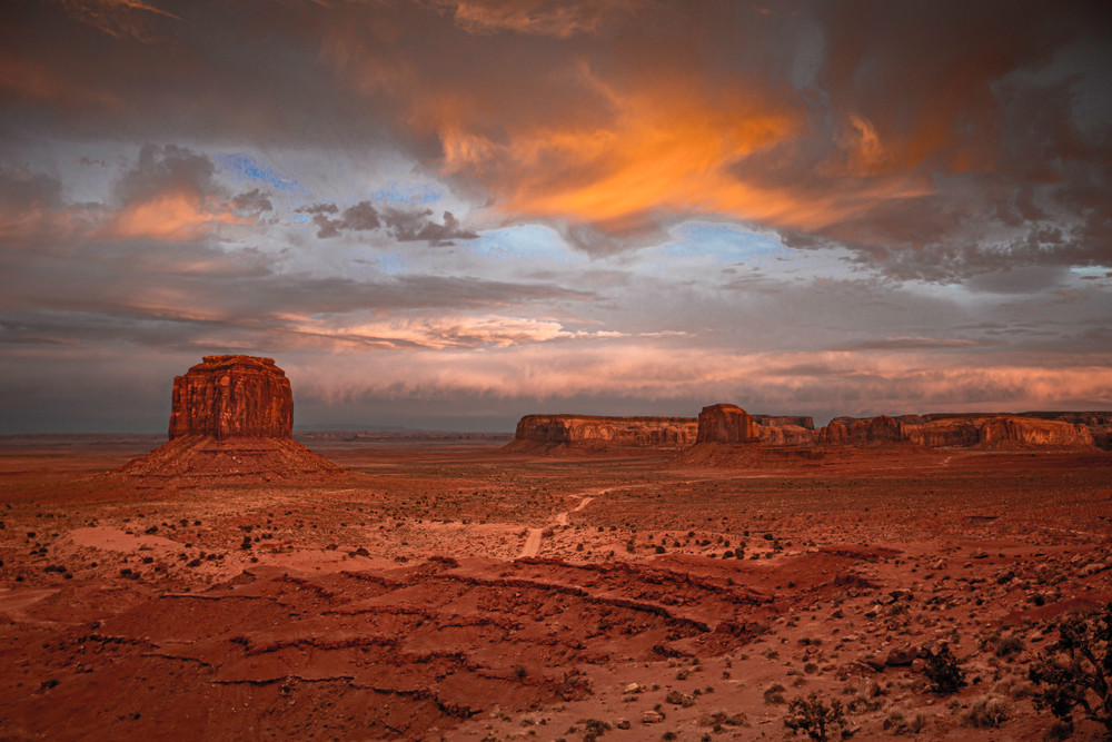 A sunset at Monument Valley Navajo Tribal Park.