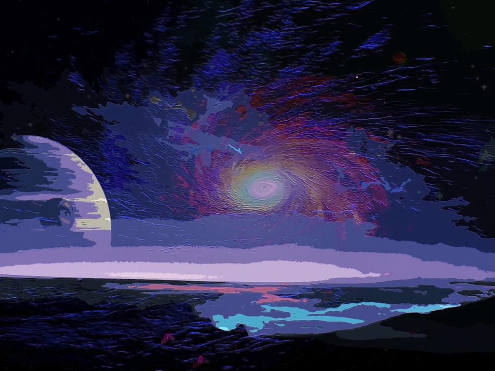Space Fantasy Art - Galaxy in View - Don White Art Dreamer