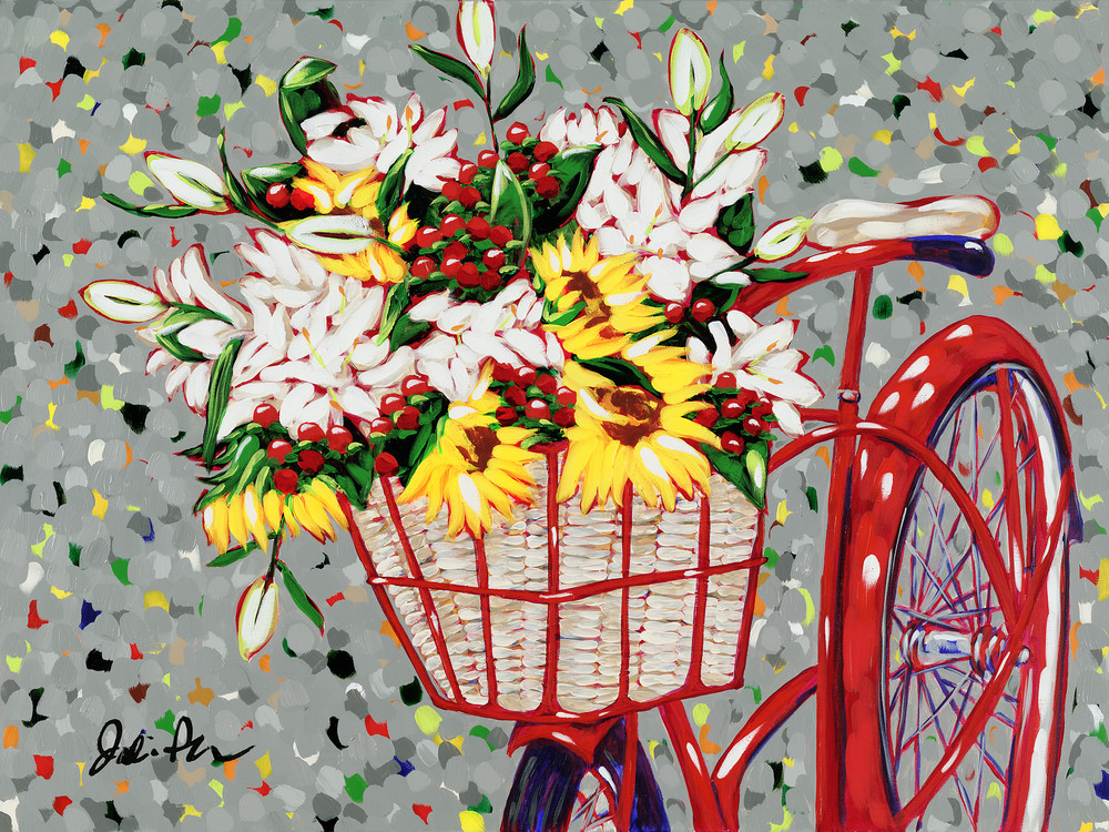 Bicycle Bouquet is a lively painting of a red bike with a floral basket.