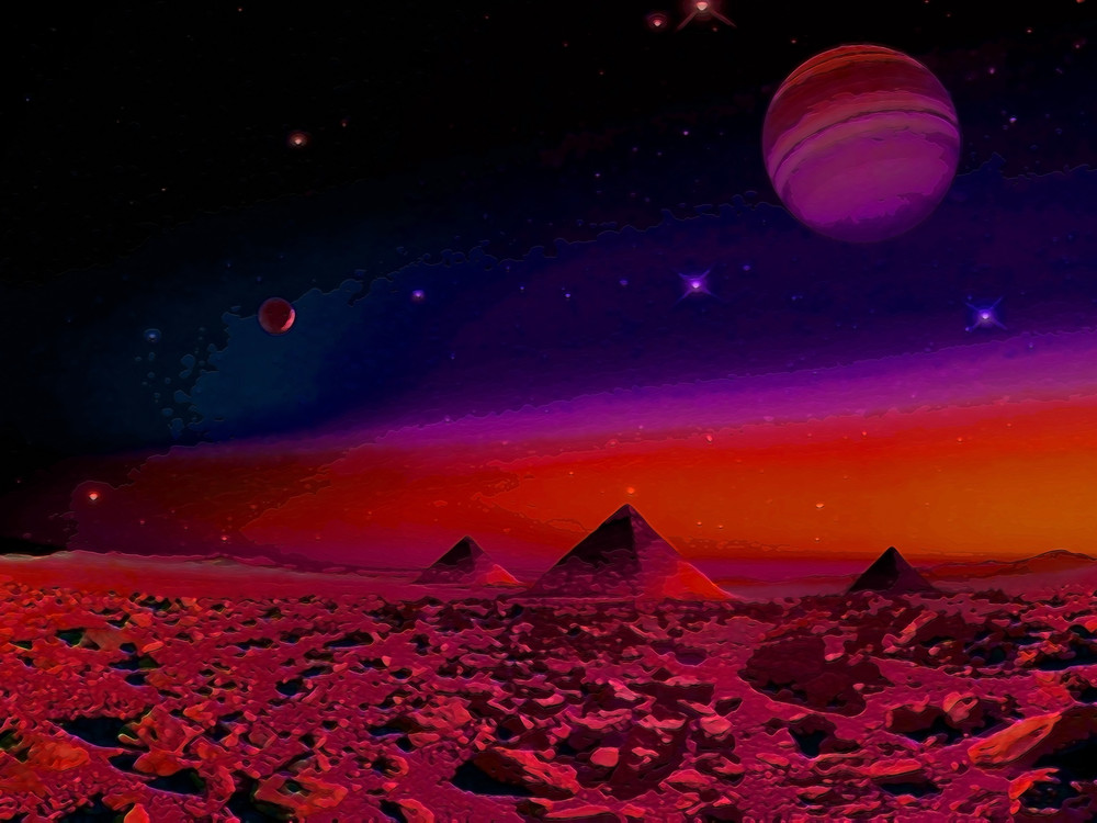 Space Fantasy Art - Pyramids - Don White Art Dreamer