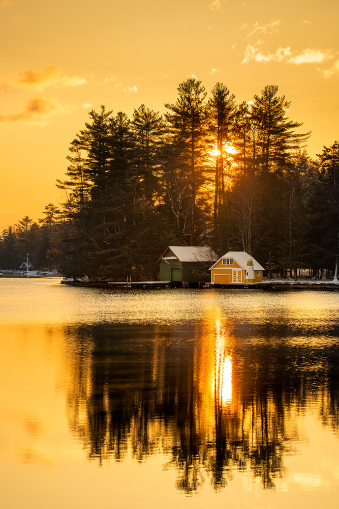 Old Forge Pond Yellow Sunrise Photography Art | Kurt Gardner Photogarphy