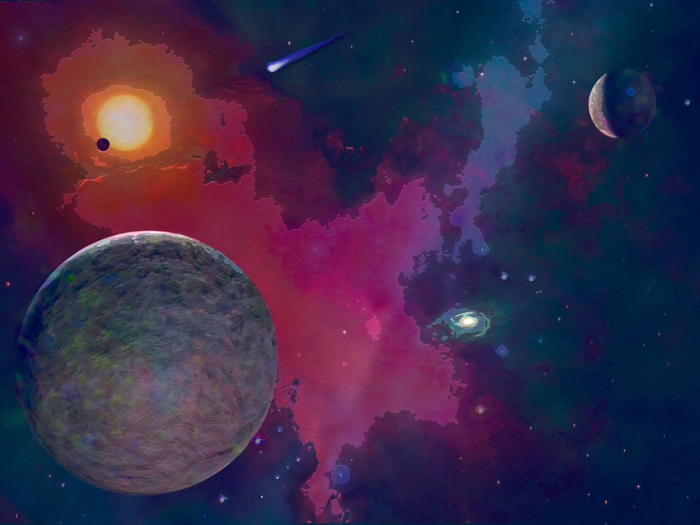 Space Fantasy Art - Away From Crowd - Don White Art Dreamer