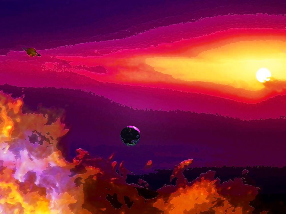 Space Fantasy Art - Moon Rise - Don White Art Dreamer
