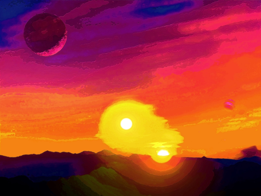 Space Fantasy Art - Double Sunset - Don White Art Dreamer