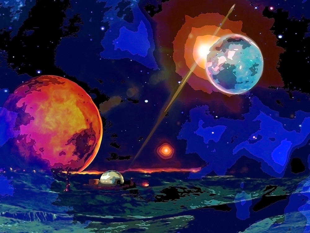 Space Fantasy Art - Research Colony - Don White Art Dreamer